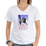 Liberty & Justice For All Women's V-Neck T-Shirt