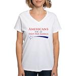 Idiot Free America Women's V-Neck T-Shirt