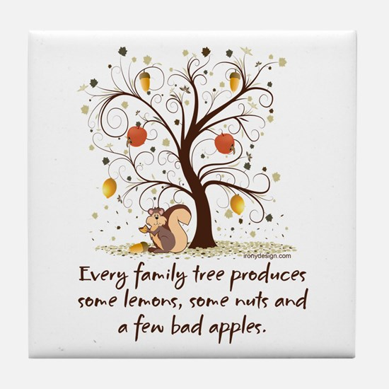 Family Tree Humor Tile Coaster