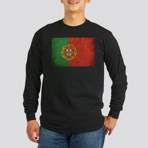 Vintage Portugal Flag Long Sleeve Dark T-Shirt