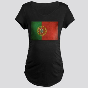 Vintage Portugal Flag Maternity Dark T-Shirt