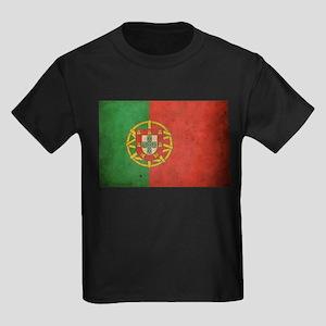 Vintage Portugal Flag Kids Dark T-Shirt