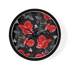 Rose Skulls Gothic Red Pattern Wall Clock
