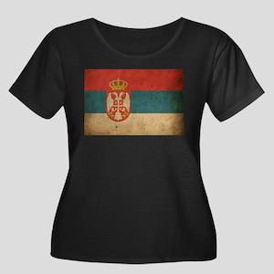 Vintage Serbia Flag Women's Plus Size Scoop Neck D