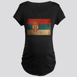 Vintage Serbia Flag Maternity Dark T-Shirt