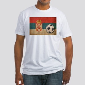 Vintage Serbia Football Fitted T-Shirt