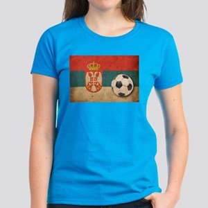 Vintage Serbia Football Women's Dark T-Shirt