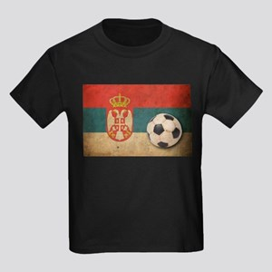 Vintage Serbia Football Kids Dark T-Shirt