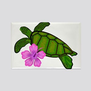 Colored Sea Turtle Hibiscus Rectangle Magnet