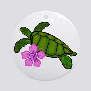 Colored Sea Turtle Hibiscus Ornament (Round)
