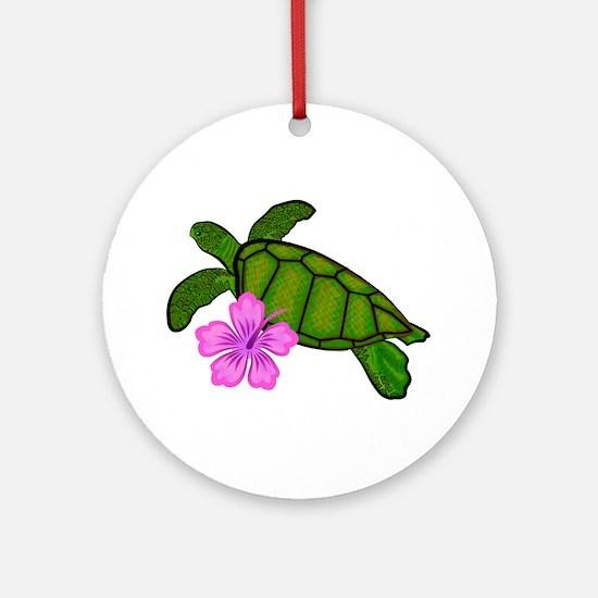 Colored Sea Turtle Hibiscus Ornament (Round)