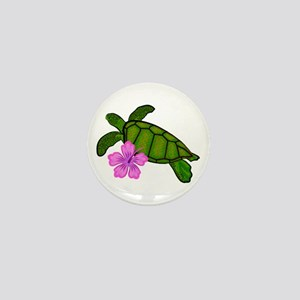 Colored Sea Turtle Hibiscus Mini Button