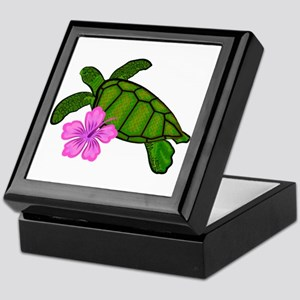 Colored Sea Turtle Hibiscus Keepsake Box