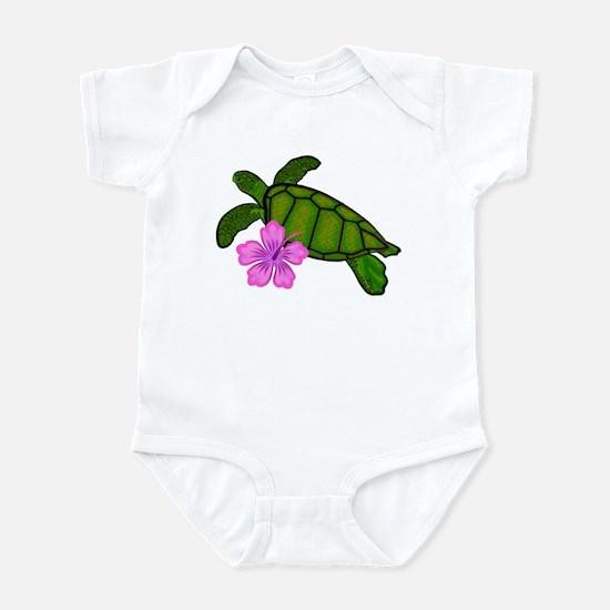 Colored Sea Turtle Hibiscus Infant Bodysuit