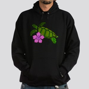 Colored Sea Turtle Hibiscus Hoodie (dark)