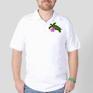 Colored Sea Turtle Hibiscus Golf Shirt