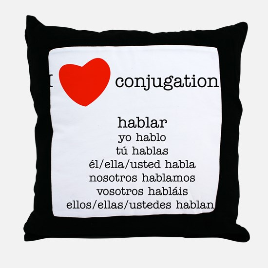 I heart conjugation Throw Pillow