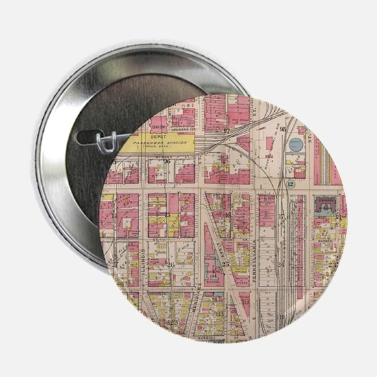 """Vintage Map of Indianapolis Indiana ( 2.25"""" Button"""
