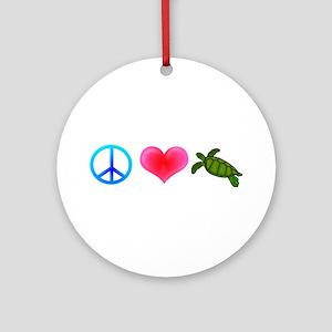 Peace Love Sea Turtles Ornament (Round)