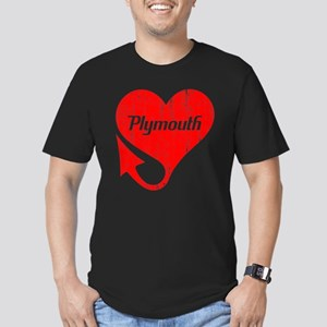 Plymouth Heart - Weathered Men's Fitted T-Shirt (d