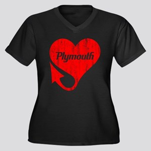 Plymouth Heart - Weathered Women's Plus Size V-Nec