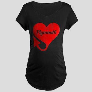 Plymouth Heart - Weathered Maternity Dark T-Shirt
