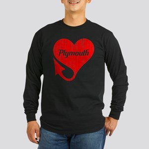 Plymouth Heart - Weathered Long Sleeve Dark T-Shir
