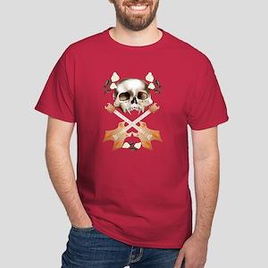 Skull-Guitar-White Rose Dark T-Shirt