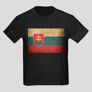 Vintage Slovakia Flag Kids Dark T-Shirt
