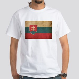 Vintage Slovakia Flag White T-Shirt