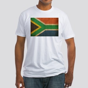 Vintage South Africa Flag Fitted T-Shirt