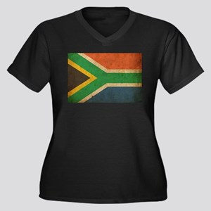 Vintage South Africa Flag Women's Plus Size V-Neck