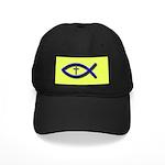 Christian Fish Icthus Cross Black Cap