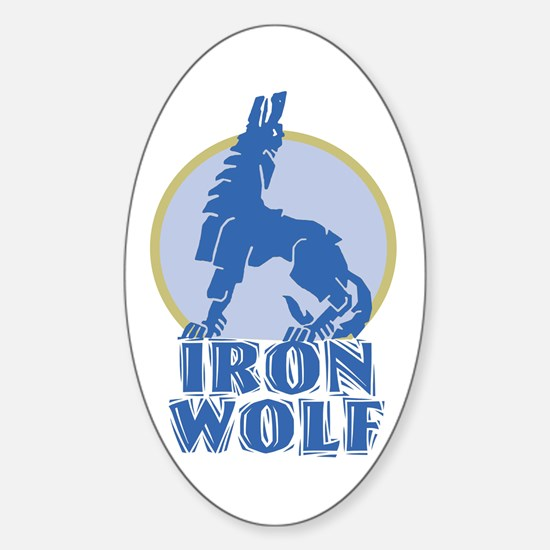 iron wolf Oval Decal