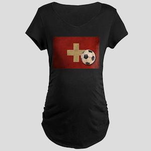 Vintage Switzerland Football Maternity Dark T-Shir
