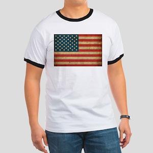 Vintage America Flag Ringer T