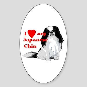 Japanese Chin valentine Oval Sticker