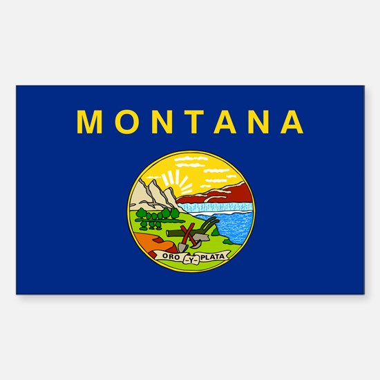 Montana State Flag Sticker (Rectangle)