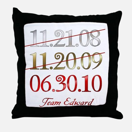 Team Edward Dates Throw Pillow