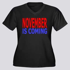 November Is Coming Women's Plus Size V-Neck Dark T