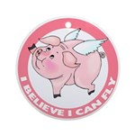 Inspirational Flying Pig Ornament (Round)