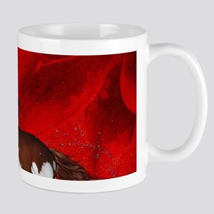Beautiful wild horse on fantasy background Mugs