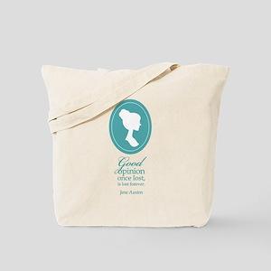 Austen Good Opinion Quote Tote Bag