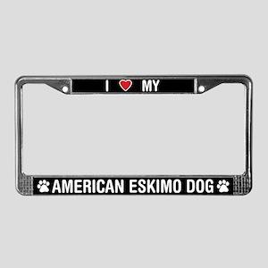 I Love My American Eskimo Dog License Plate Frame