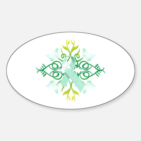 Teal Survivor Sticker (Oval)