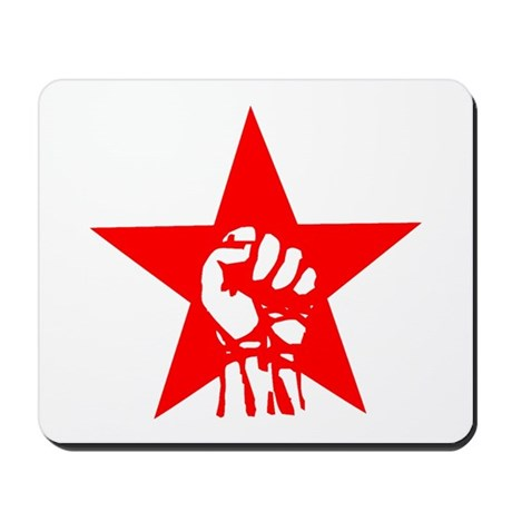 Red Star Fist Mousepad By Commiestore