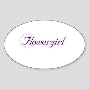 Flower Girl Heart Circle Oval Sticker