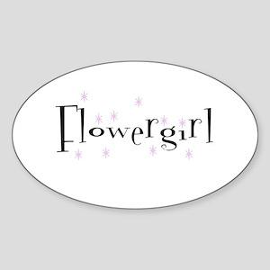 Flower Girl Sparkly Oval Sticker
