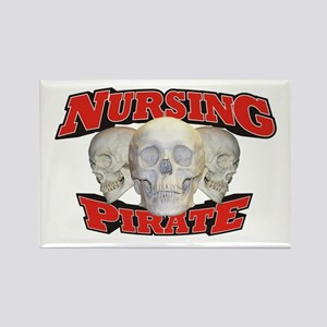 Nursing Pirate Rectangle Magnet
