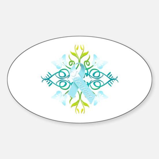 Light Blue Survivor Sticker (Oval)